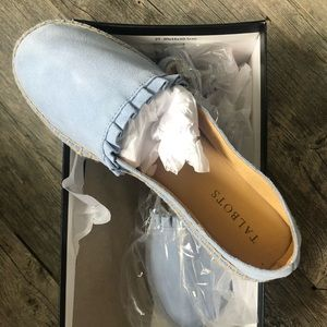 Talbots brand new in box suede ruffle espadrilles